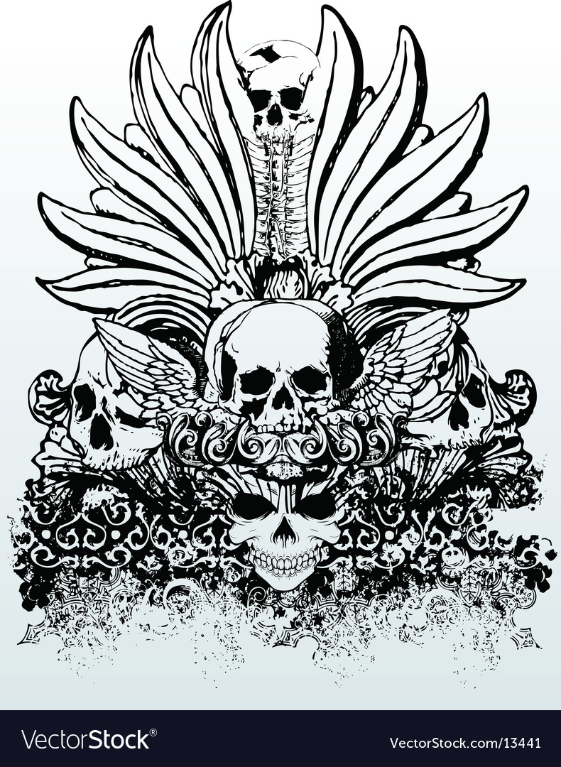 Tribal skull grunge illustration vector | Price: 3 Credit (USD $3)