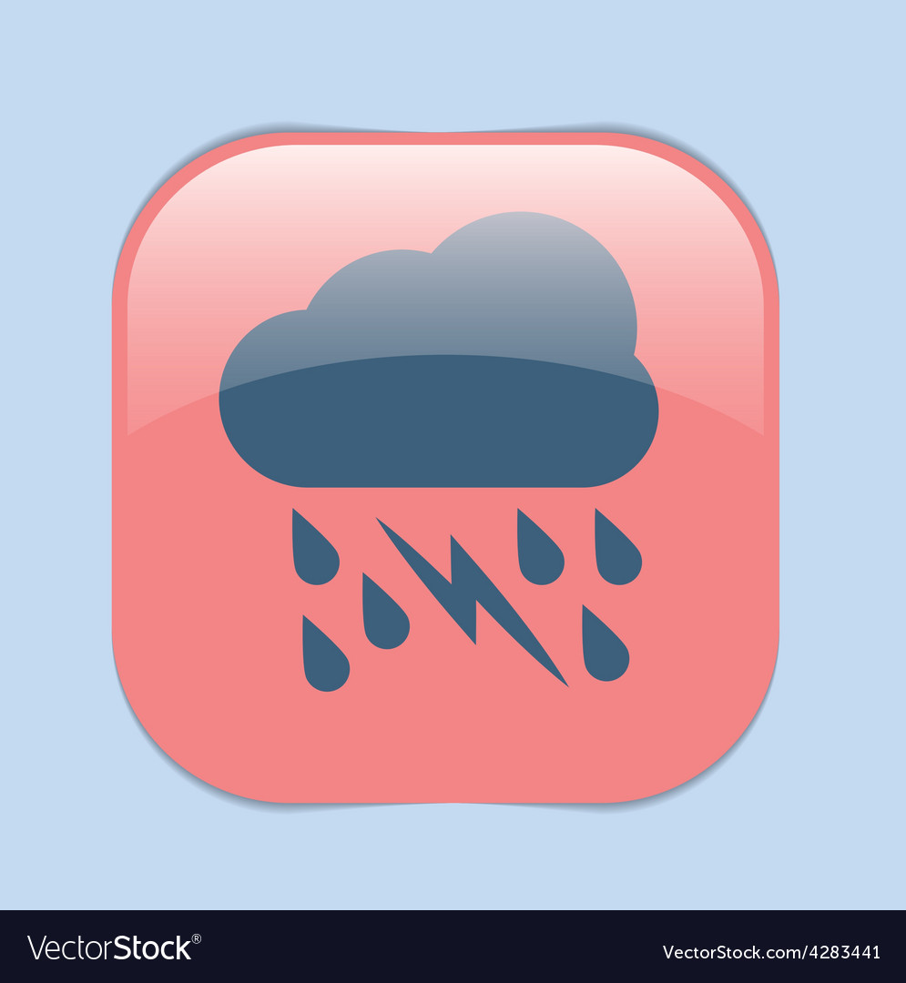 Weather icon cloud rain lightning sign vector | Price: 1 Credit (USD $1)