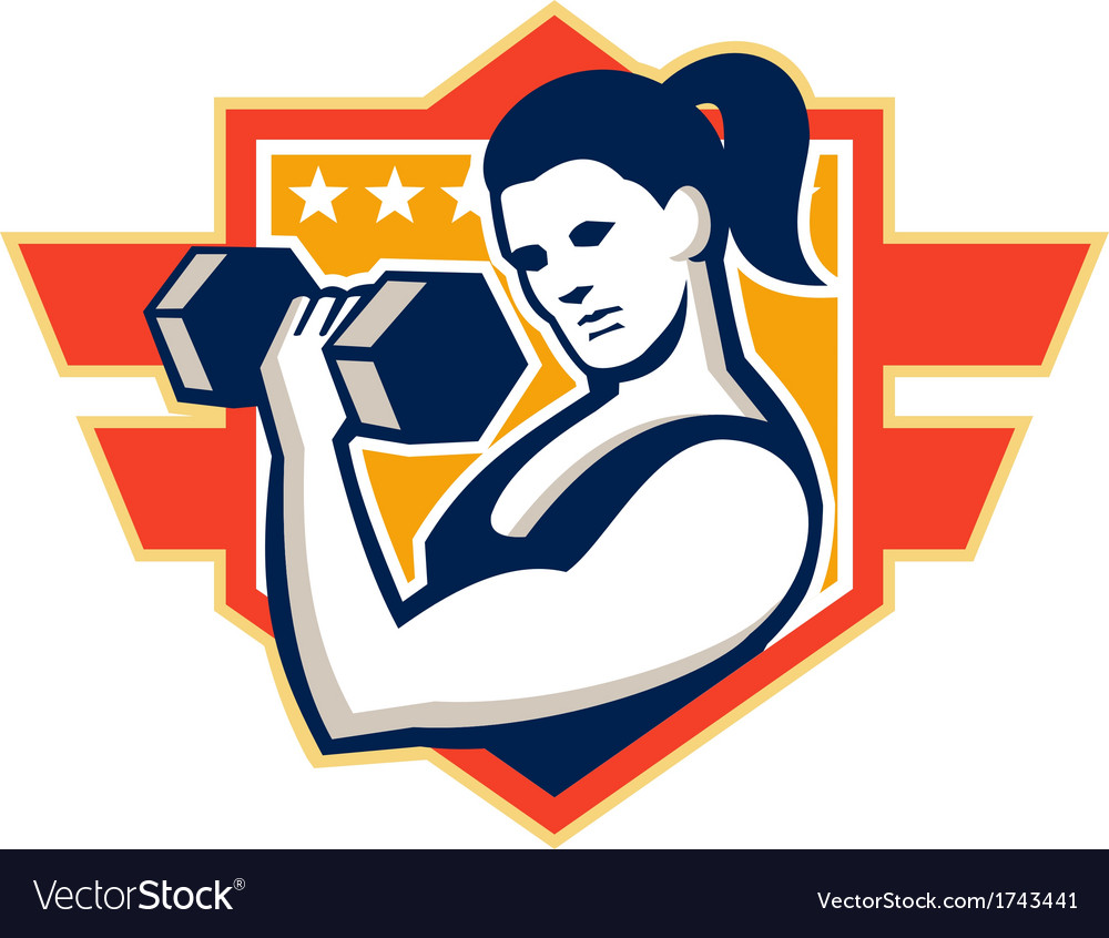 Woman lifting lifting dumbbell retro vector | Price: 1 Credit (USD $1)