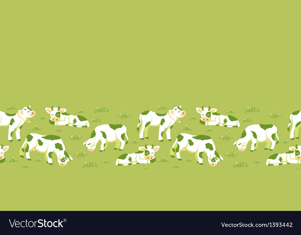 Cows on the field horizontal seamless pattern vector | Price: 1 Credit (USD $1)