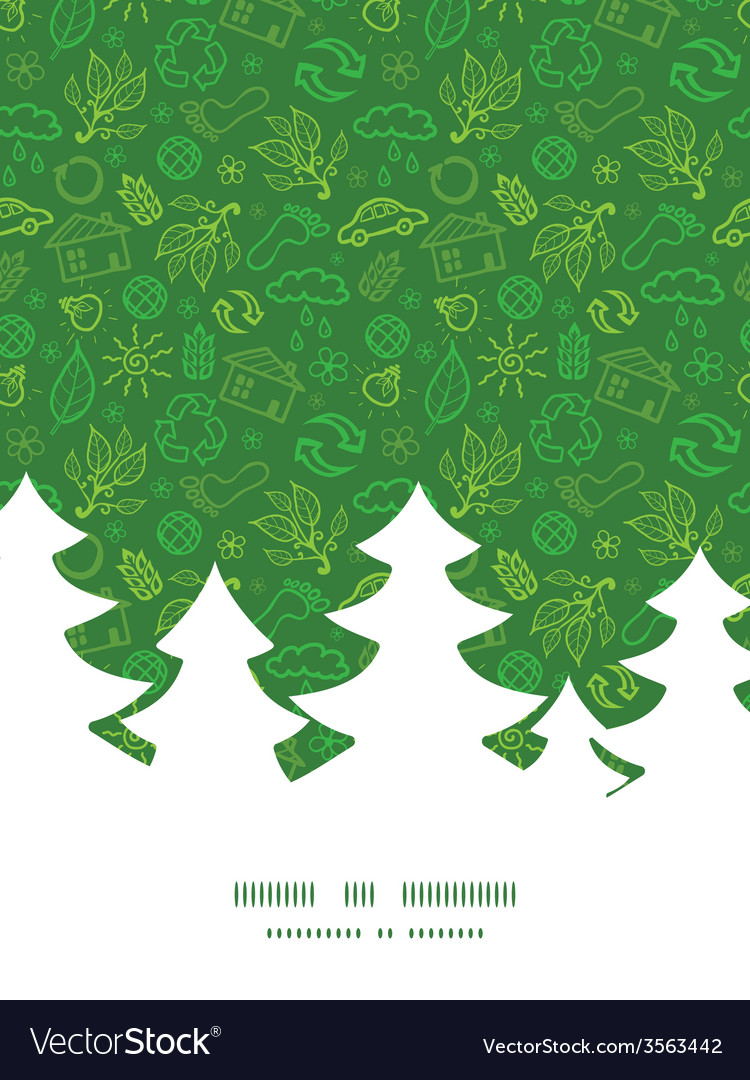Ecology symbols christmas tree silhouette pattern vector | Price: 1 Credit (USD $1)