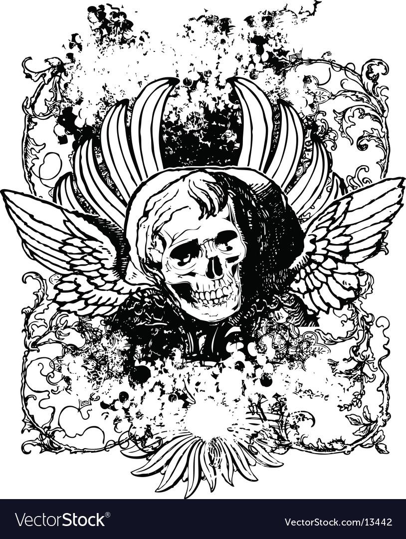 Evil angel grunge skull vector