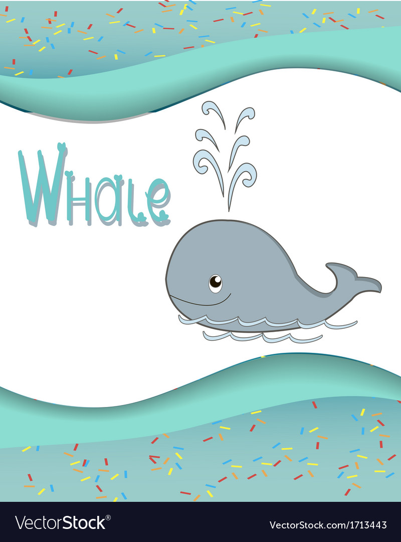 Animal alphabet whale with a colored background vector | Price: 1 Credit (USD $1)
