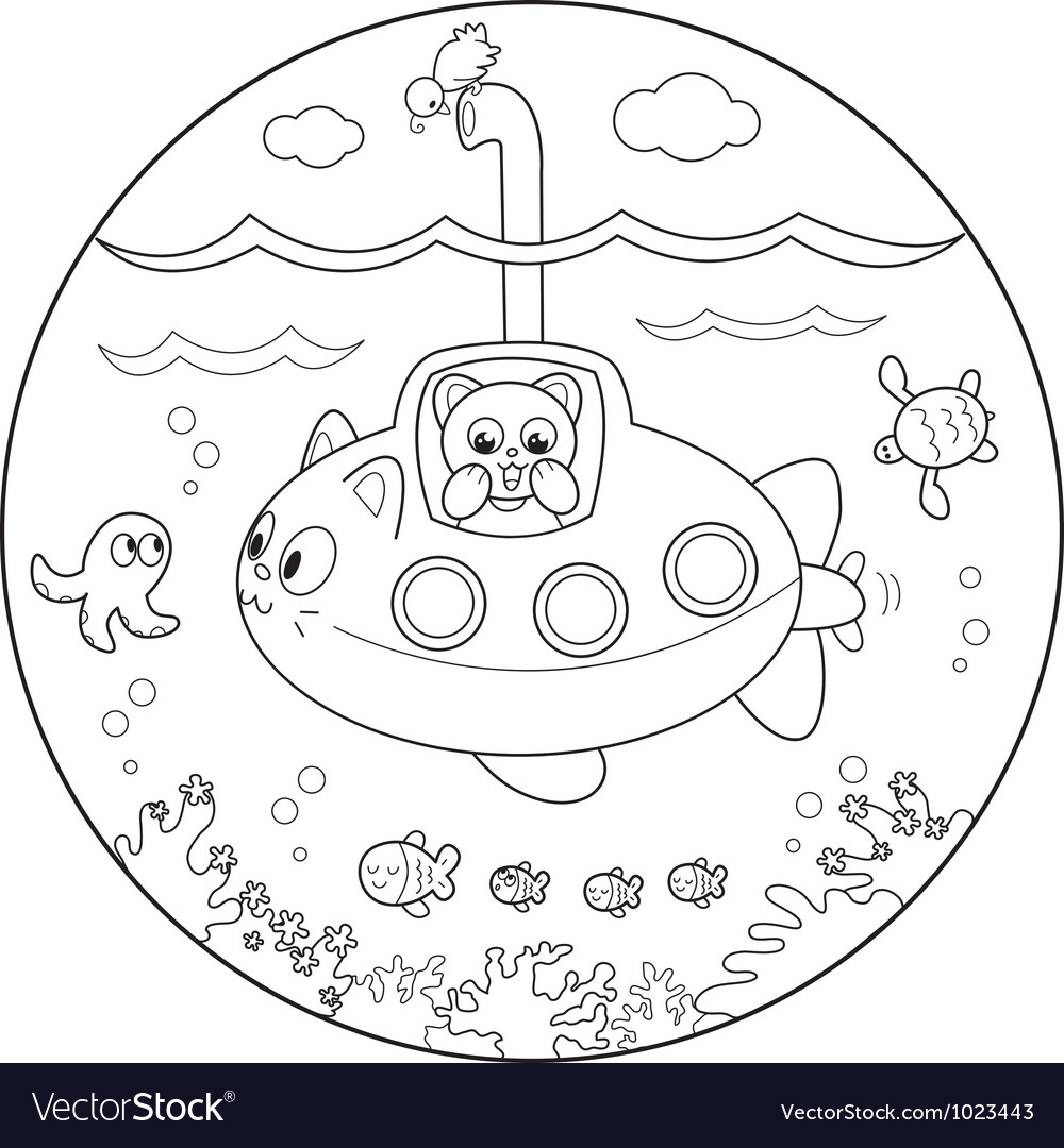Coloring submarine under water vector | Price: 1 Credit (USD $1)
