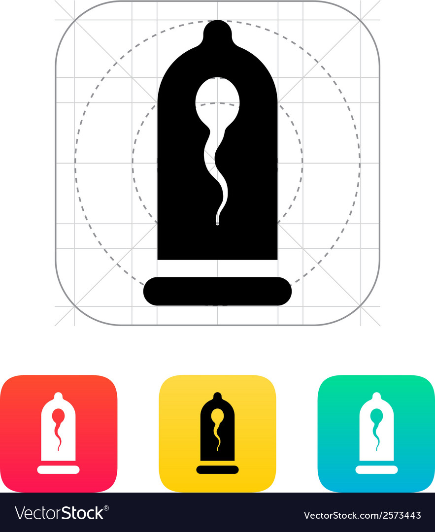 Condom with spermatozoid icon vector | Price: 1 Credit (USD $1)