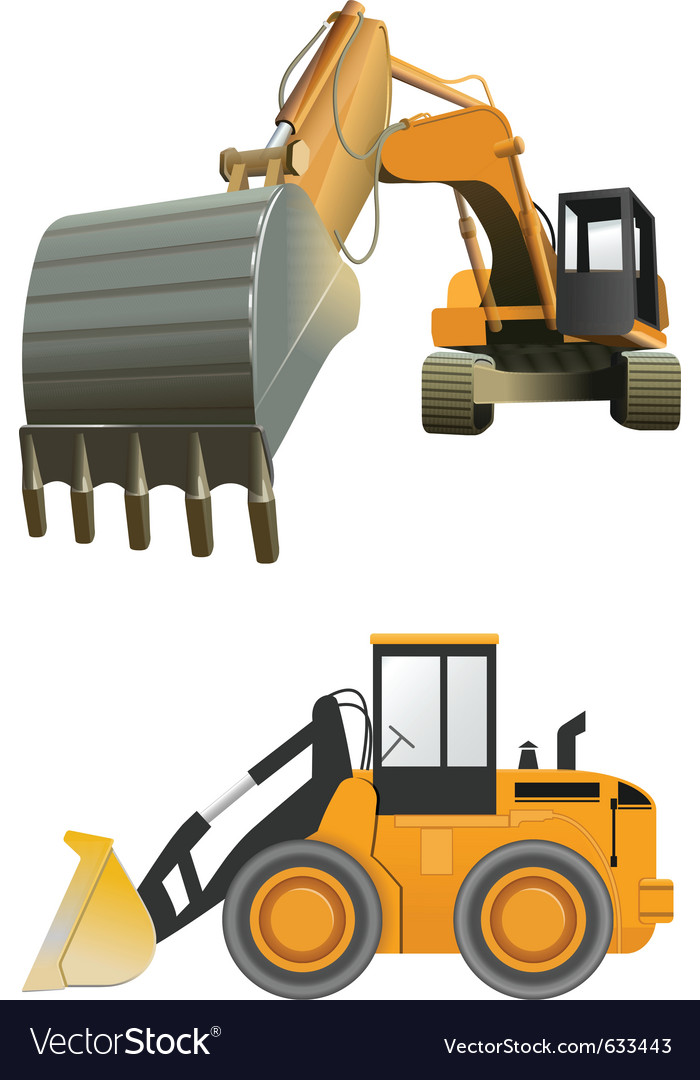 Construction machines on white background vector | Price: 3 Credit (USD $3)