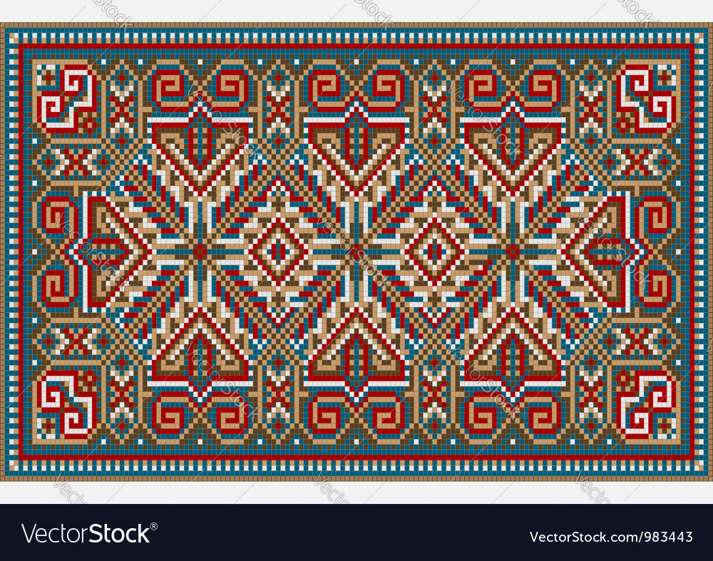 Design ethnic rug in bright colors vector | Price: 1 Credit (USD $1)