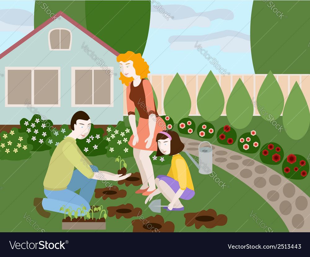 Family planting flowers in the yard of small cute vector | Price: 1 Credit (USD $1)
