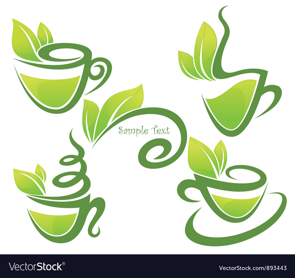 Green tea collection of forms symbols and vector | Price: 1 Credit (USD $1)