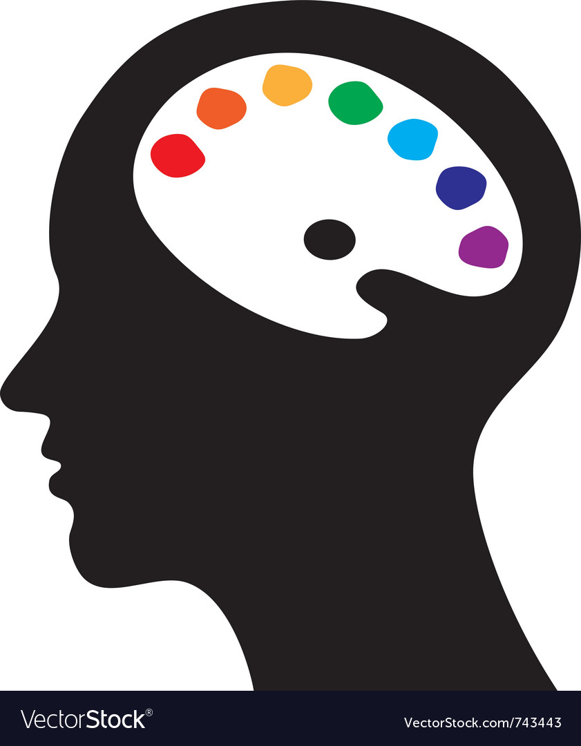 Head with brain as palette vector | Price: 1 Credit (USD $1)