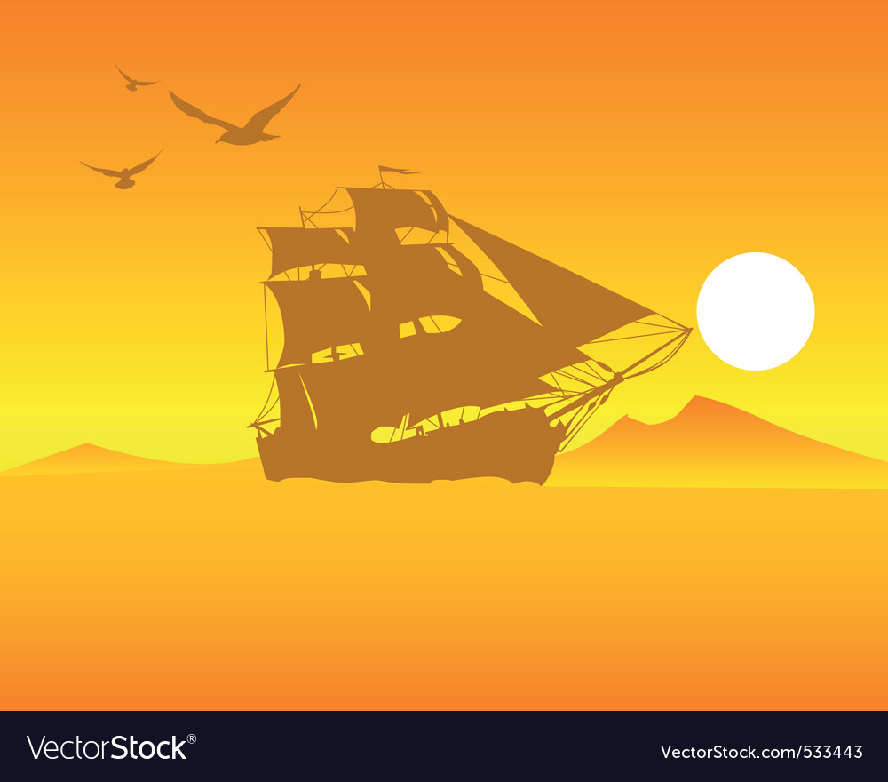 Sailing ship on an orange background of the sky an vector | Price: 1 Credit (USD $1)
