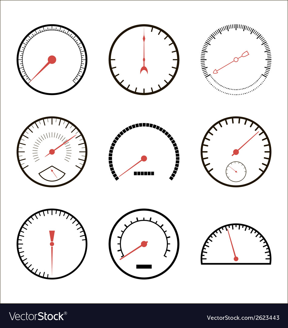 Speedometer icon set vector | Price: 1 Credit (USD $1)