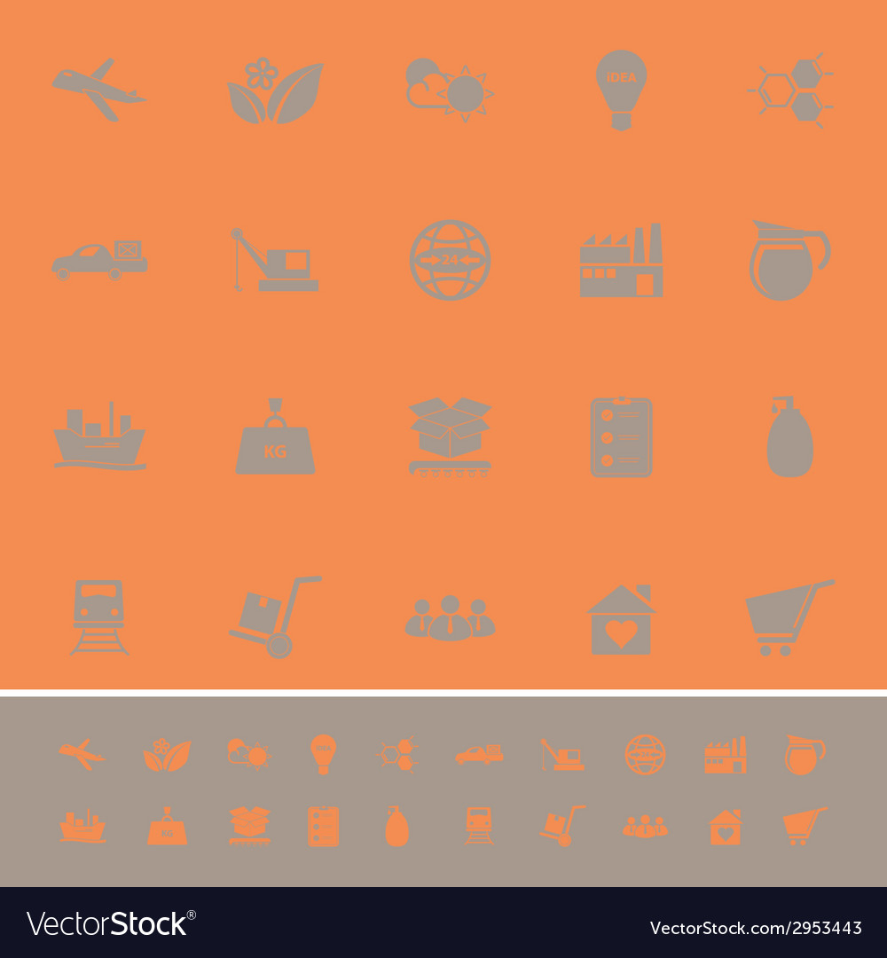 Supply chain and logistic color icons on orange vector | Price: 1 Credit (USD $1)