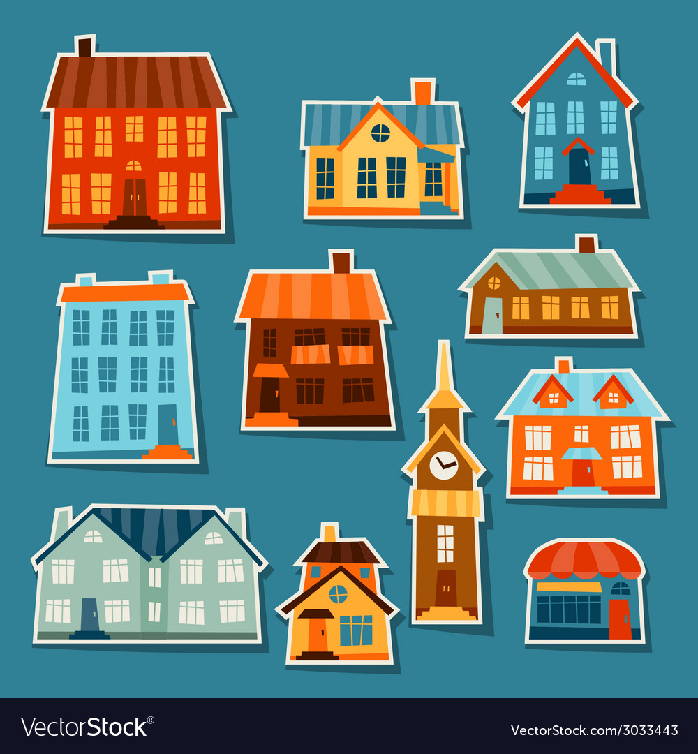 Town icon set of cute colorful houses vector | Price: 1 Credit (USD $1)