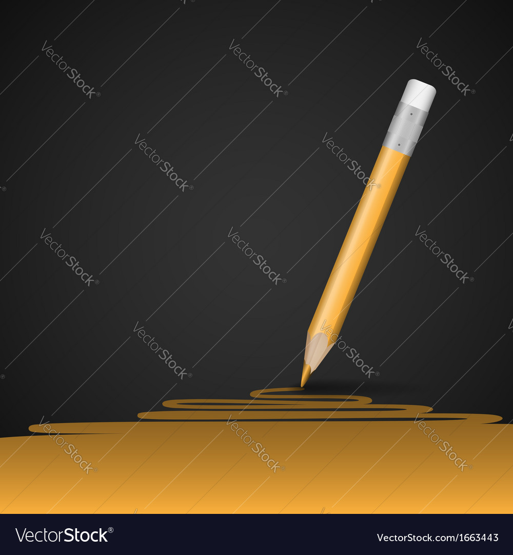 Yellow pencil drawing line vector | Price: 1 Credit (USD $1)