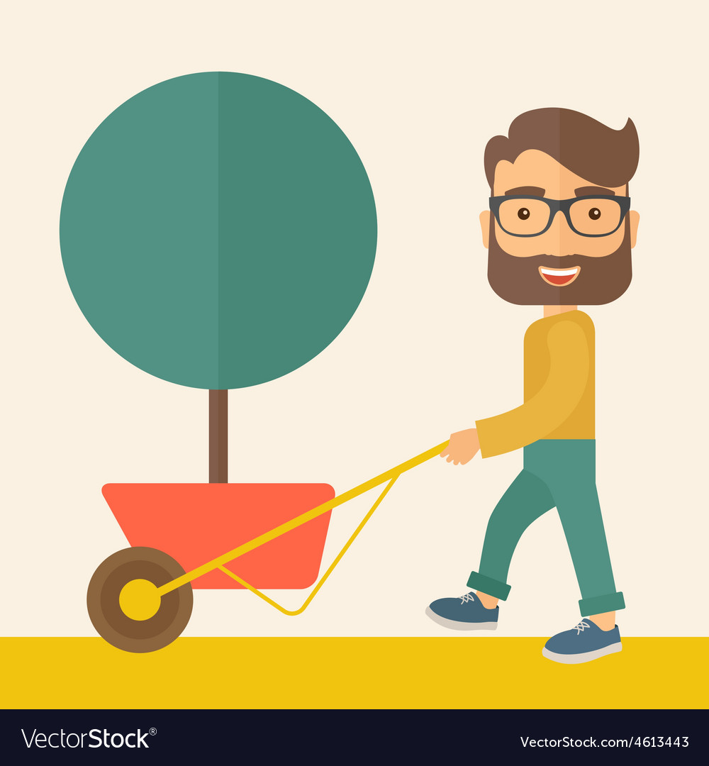 Young man pushing the cart with tree vector | Price: 1 Credit (USD $1)
