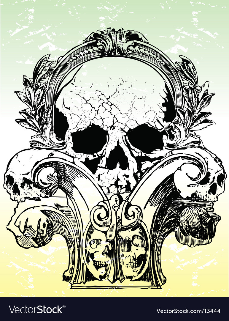 Ancient grunge skull illustration vector | Price: 1 Credit (USD $1)