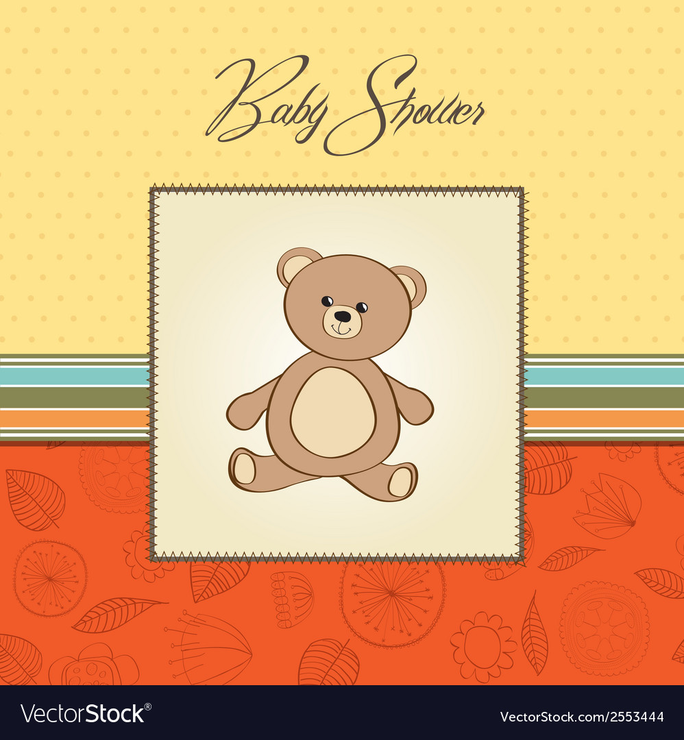Baby shower card with teddy vector   Price: 1 Credit (USD $1)