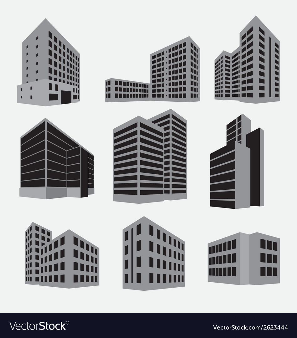Building icon set vector | Price: 1 Credit (USD $1)