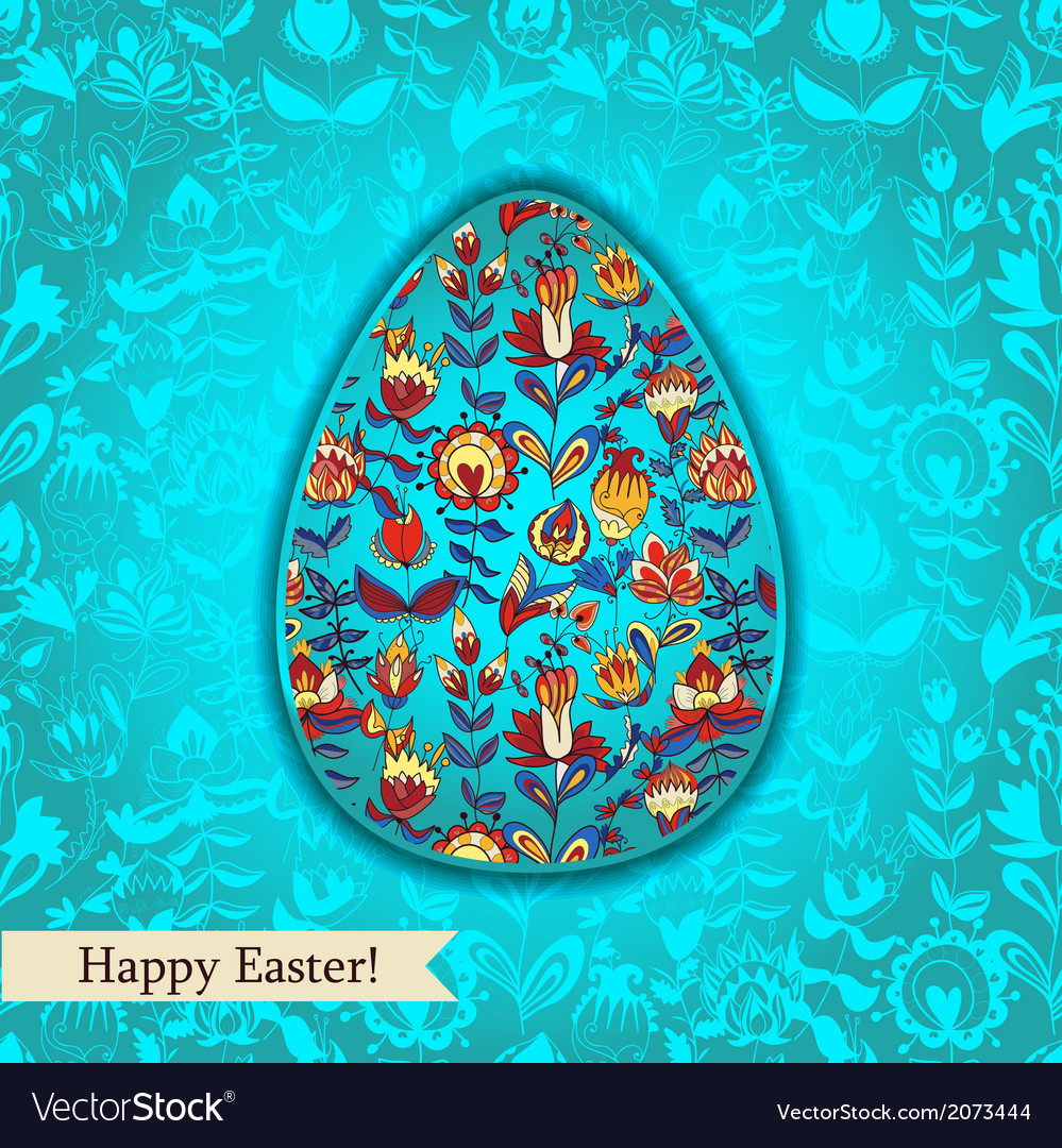 Easter egg turquoise greeting card with flowers vector | Price: 1 Credit (USD $1)