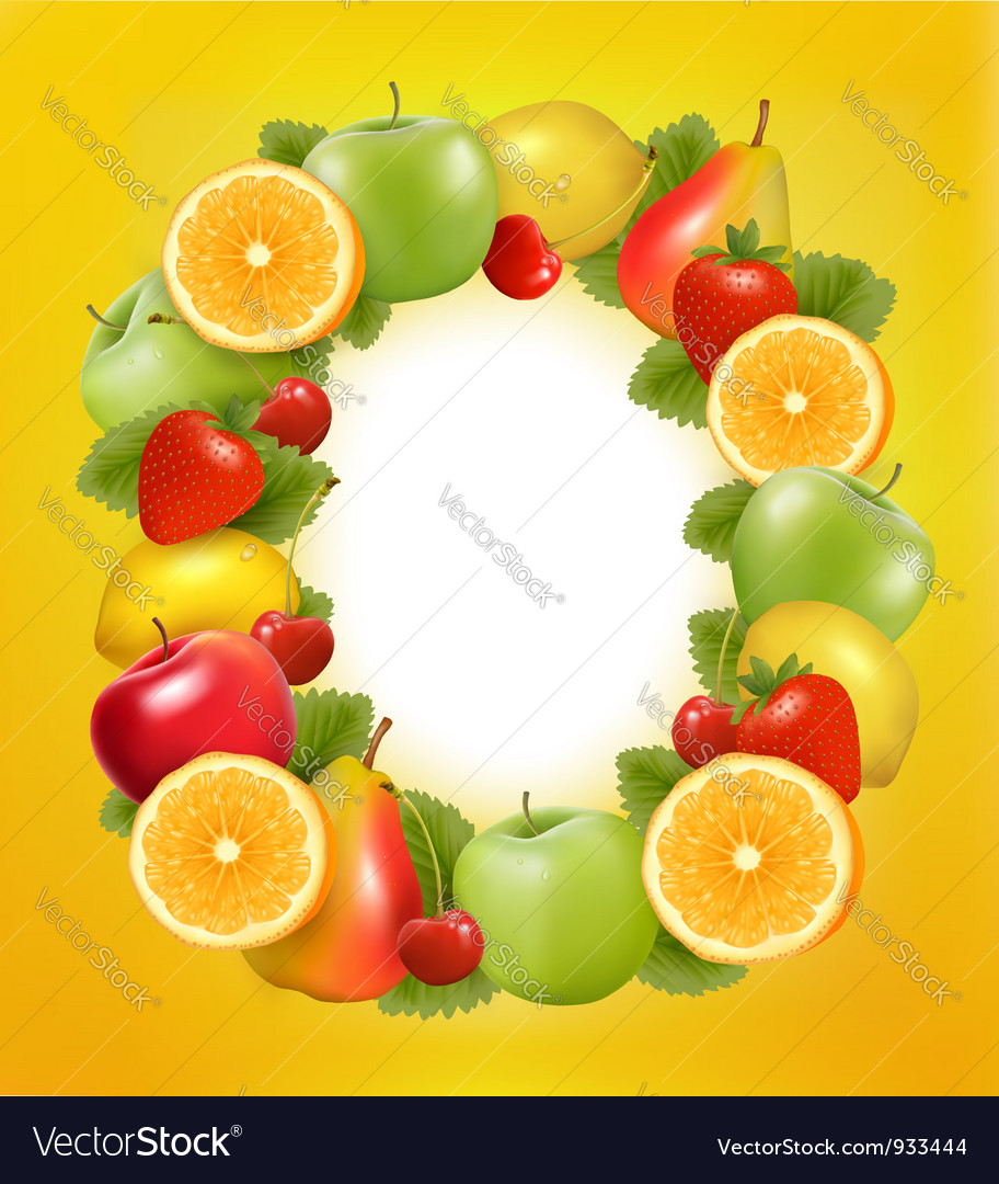 Fresh fruit in frame vector | Price: 3 Credit (USD $3)