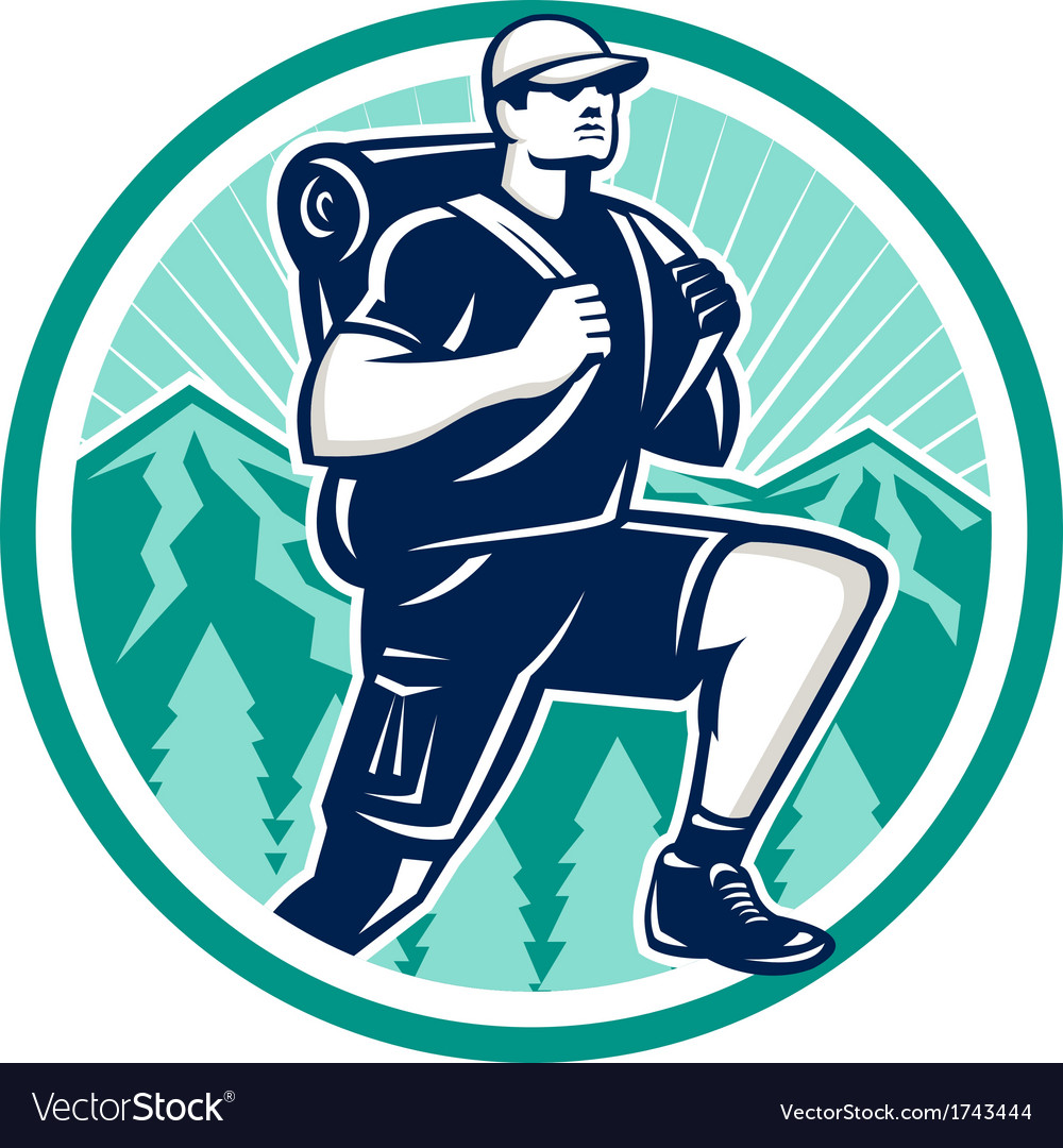 Hiker hiking mountain retro vector | Price: 1 Credit (USD $1)