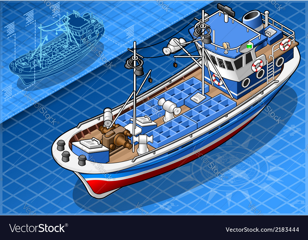 Isometric fishing boat isolated in front view vector | Price: 1 Credit (USD $1)