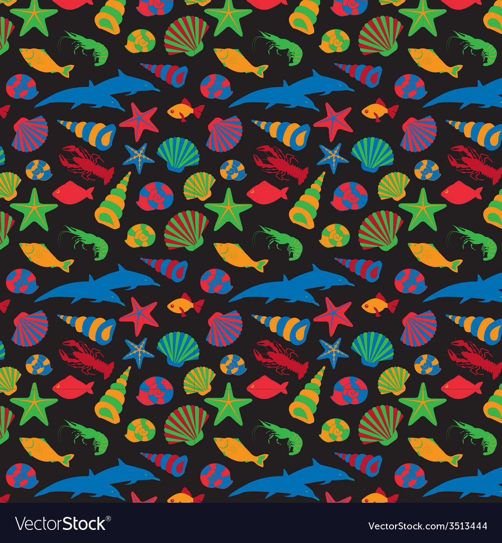 Sea animals background pattern flat style vector | Price: 1 Credit (USD $1)