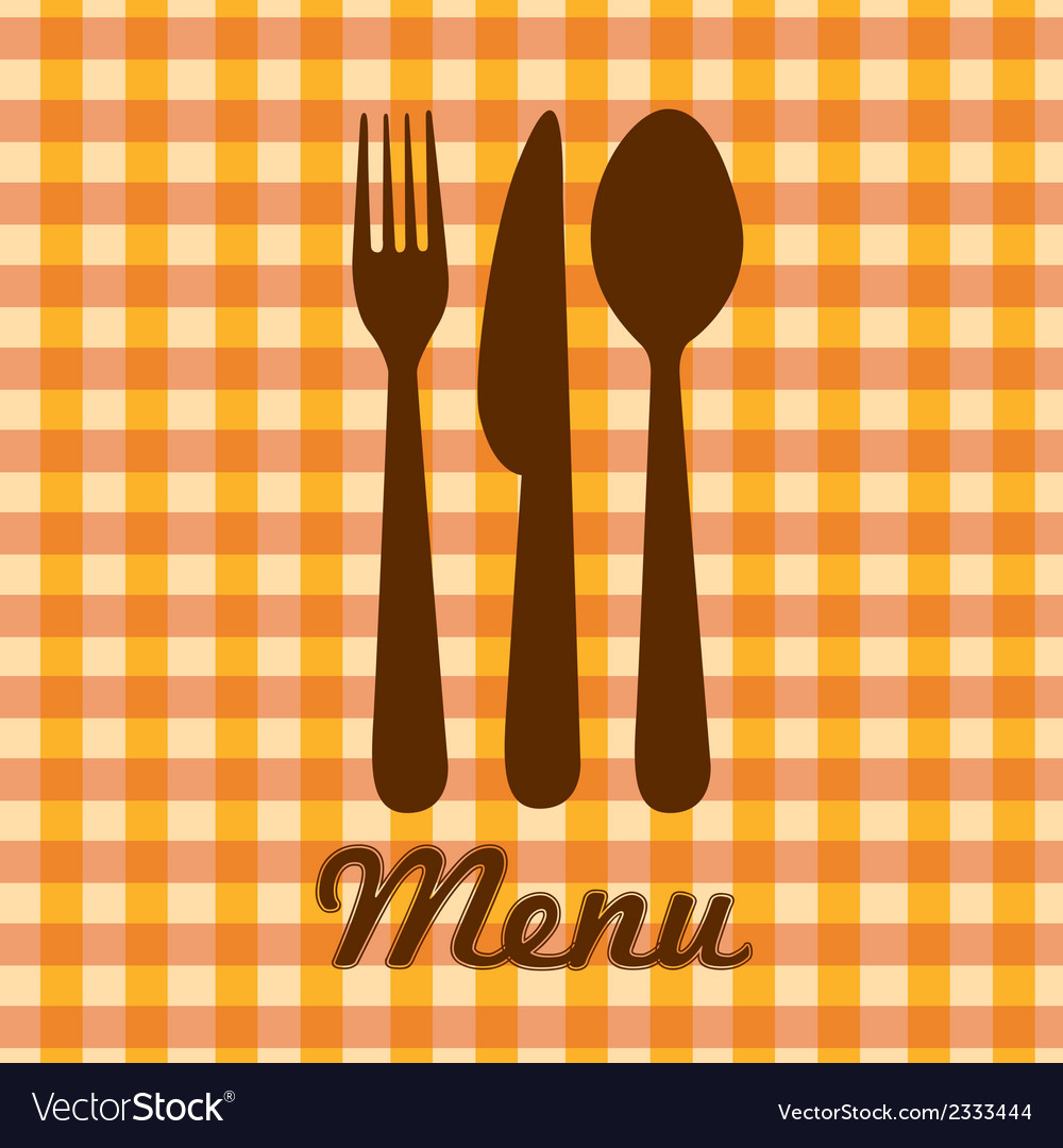Silhouettes of spoon fork and knife over orange ch vector | Price: 1 Credit (USD $1)