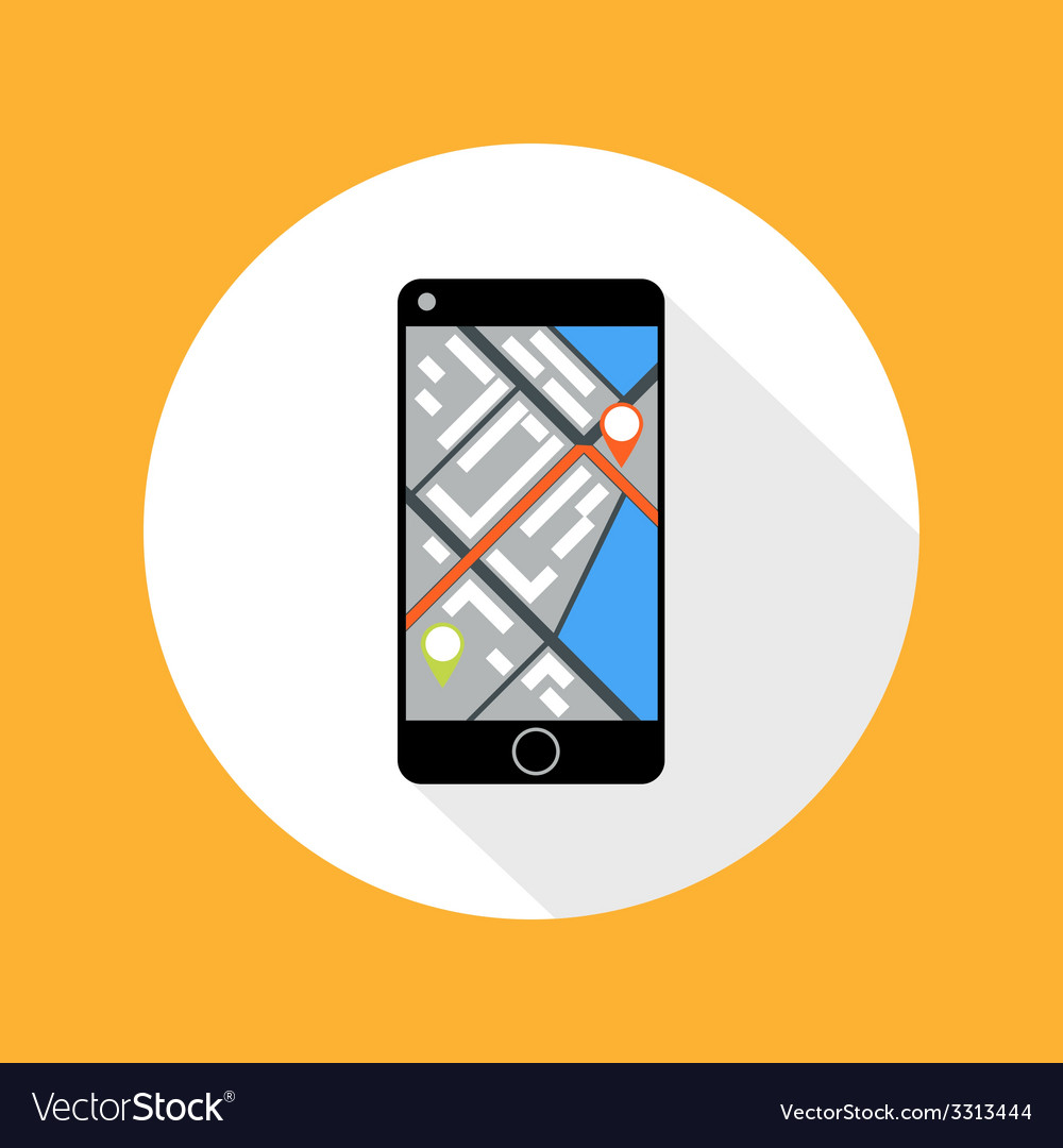 Smartphone with map vector | Price: 1 Credit (USD $1)