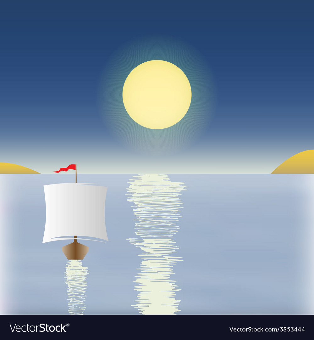 Sunrise with a boat in the background vector | Price: 1 Credit (USD $1)