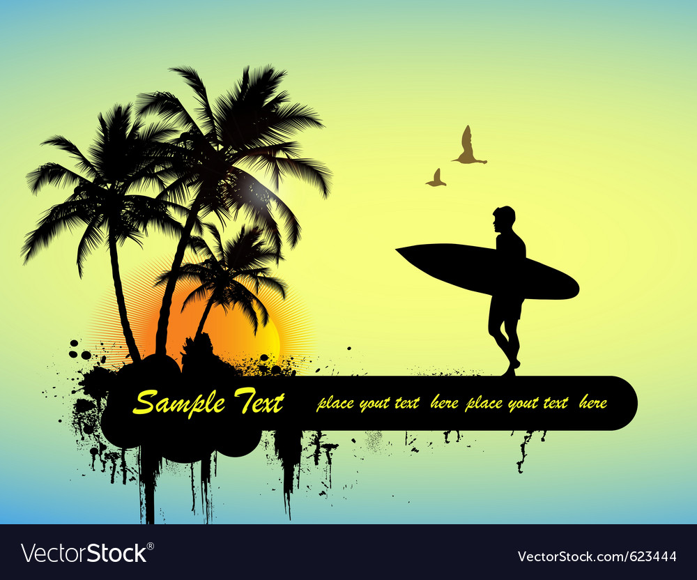 Surfing poster vector | Price: 1 Credit (USD $1)