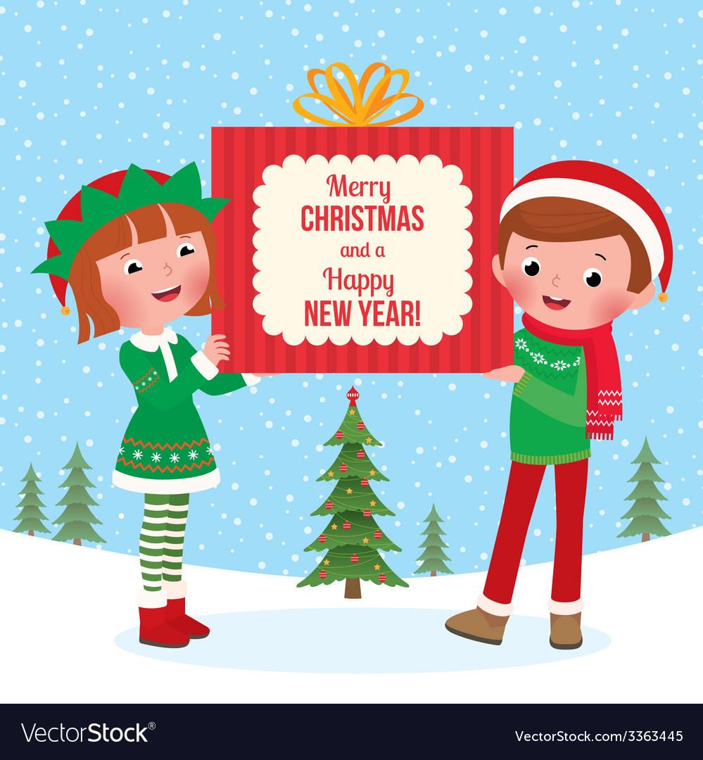 Children hold a big christmas gift vector | Price: 1 Credit (USD $1)