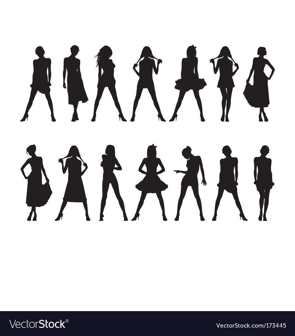 Fashion girls silhouettes vector | Price: 1 Credit (USD $1)