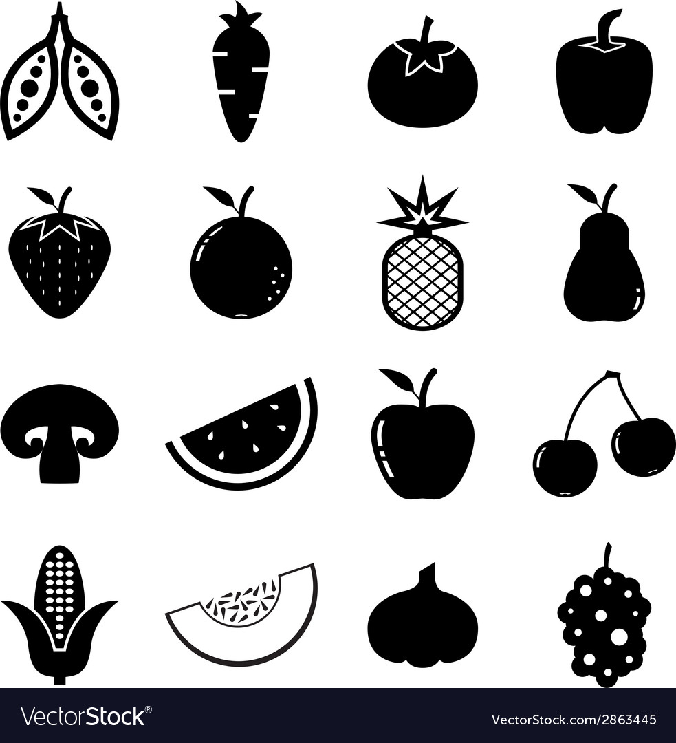 Fruit and vegetable icon vector