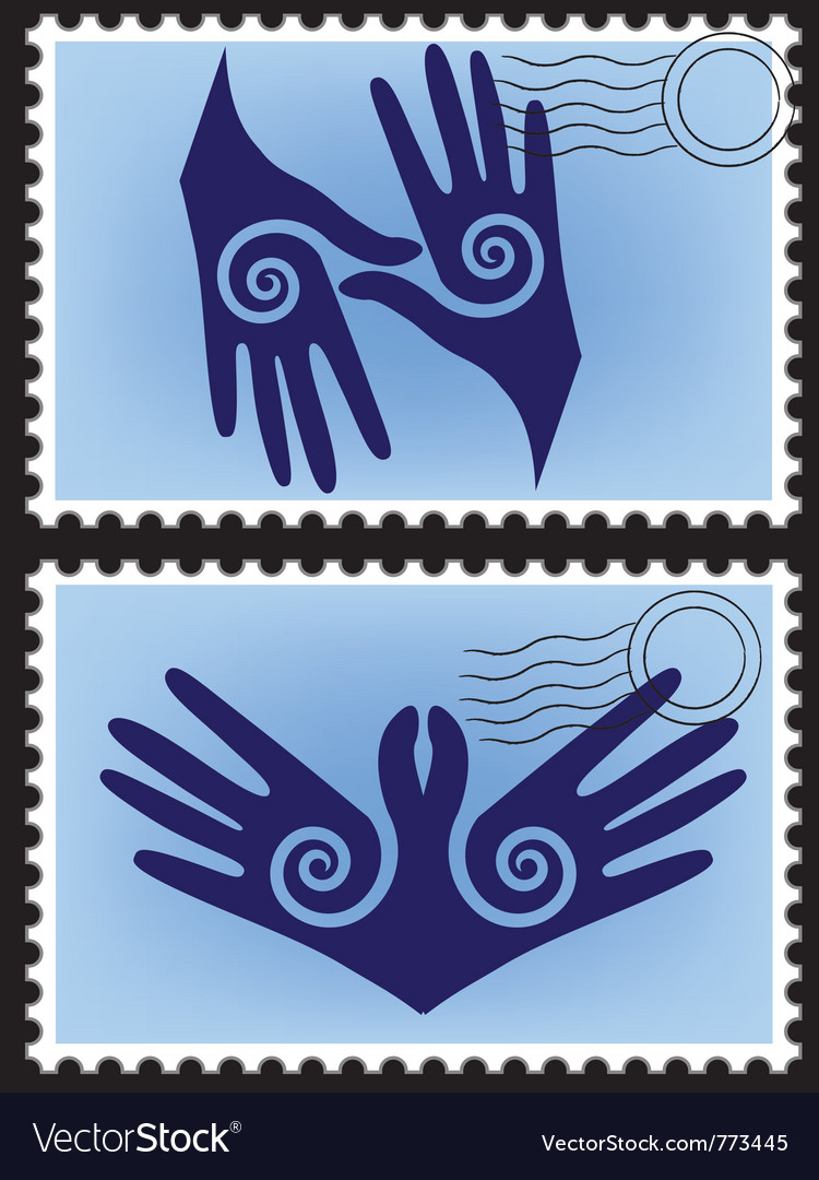 Hands post stamp vector | Price: 1 Credit (USD $1)