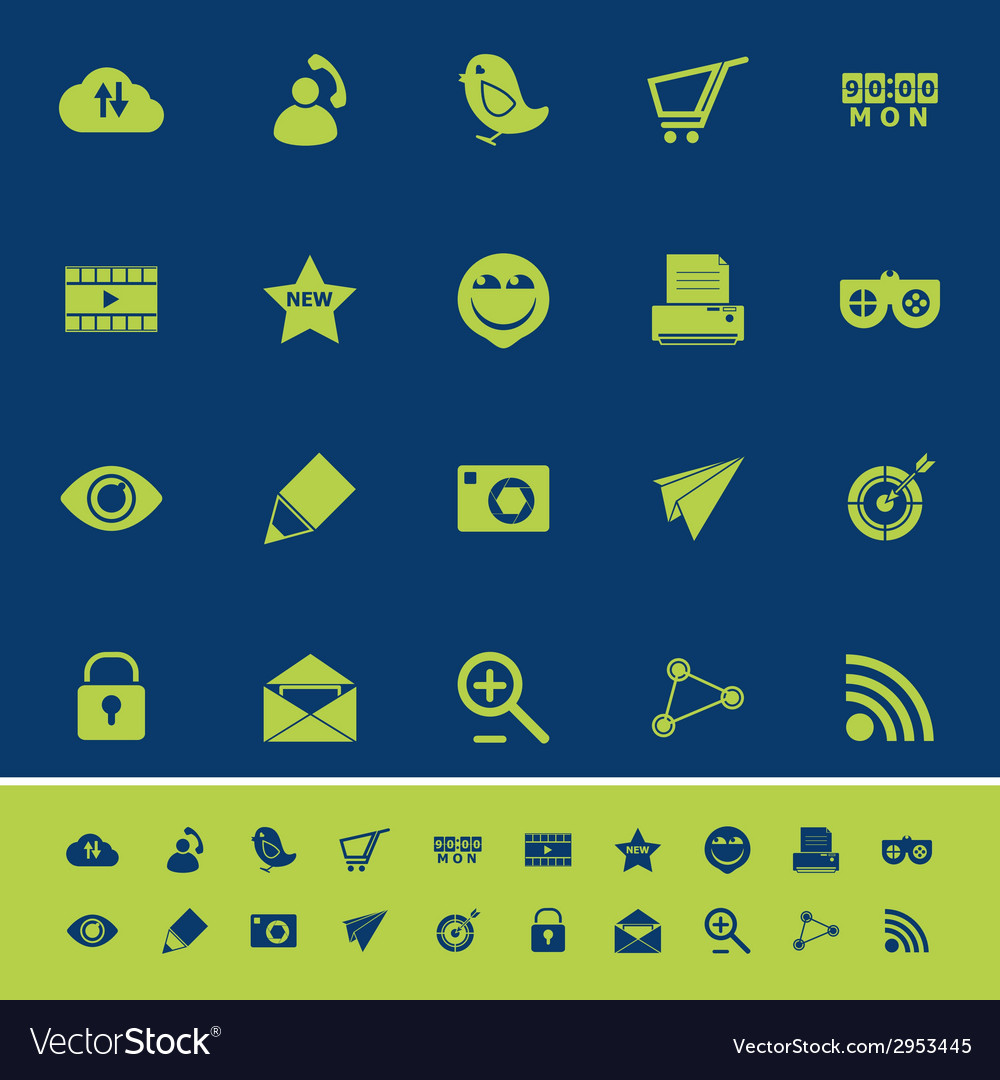 Internet useful color icons on blue navy vector | Price: 1 Credit (USD $1)