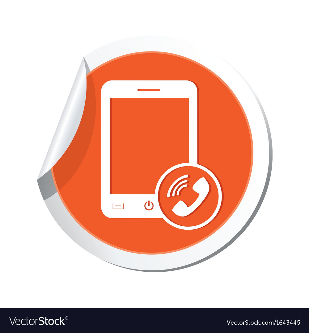 Phone call icon orange sticker vector | Price: 1 Credit (USD $1)