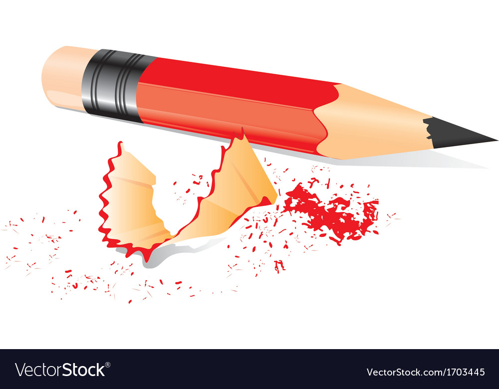 Red pencil with sharpener trash vector | Price: 1 Credit (USD $1)