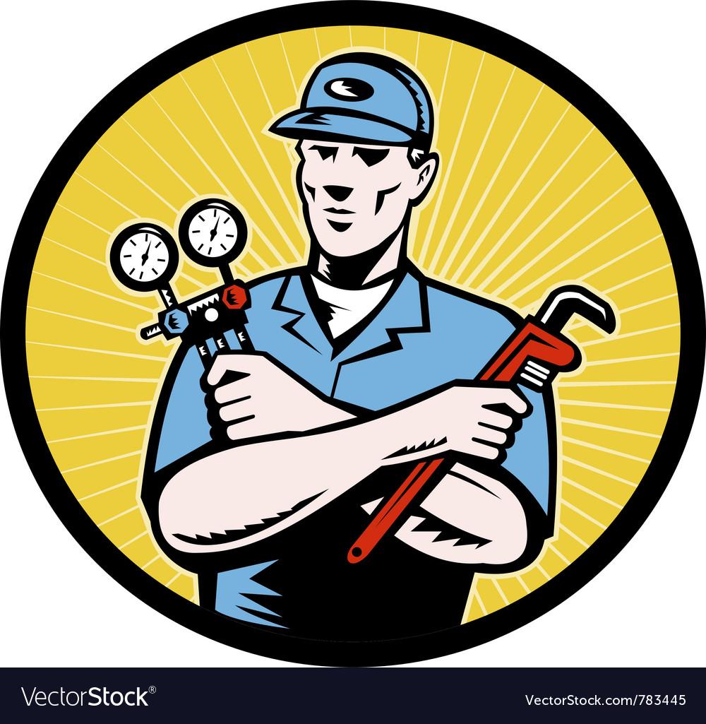 Retro repairman icon vector | Price: 1 Credit (USD $1)