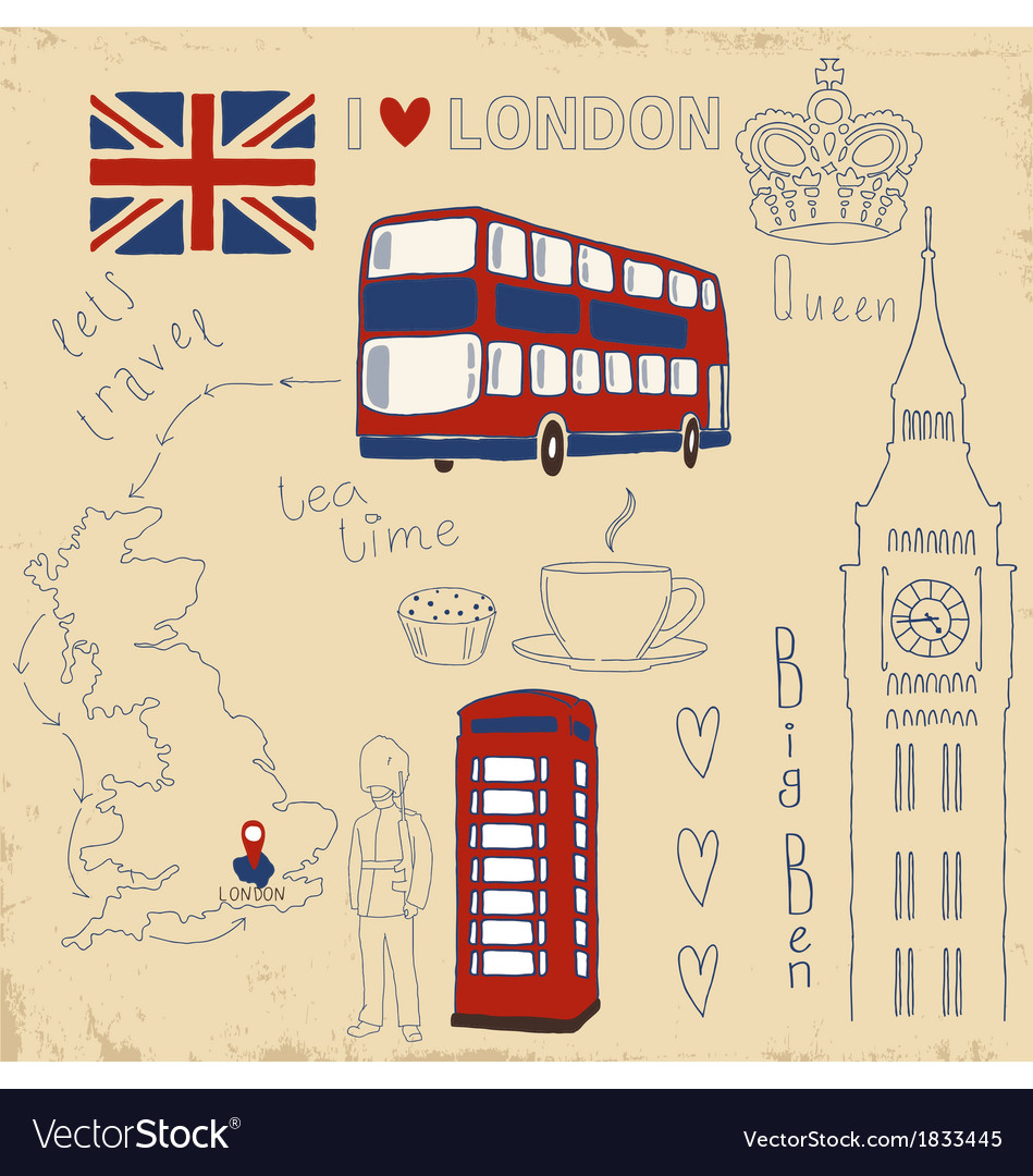 Set of london symbols on vintage vector | Price: 1 Credit (USD $1)