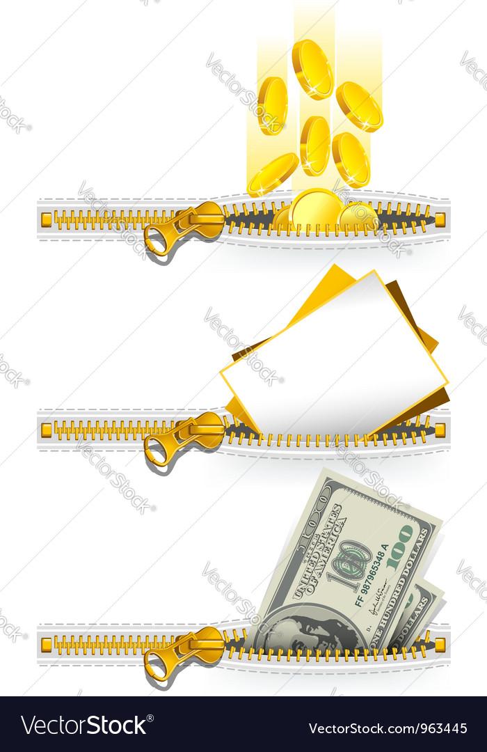 Zipper icon set vector | Price: 1 Credit (USD $1)