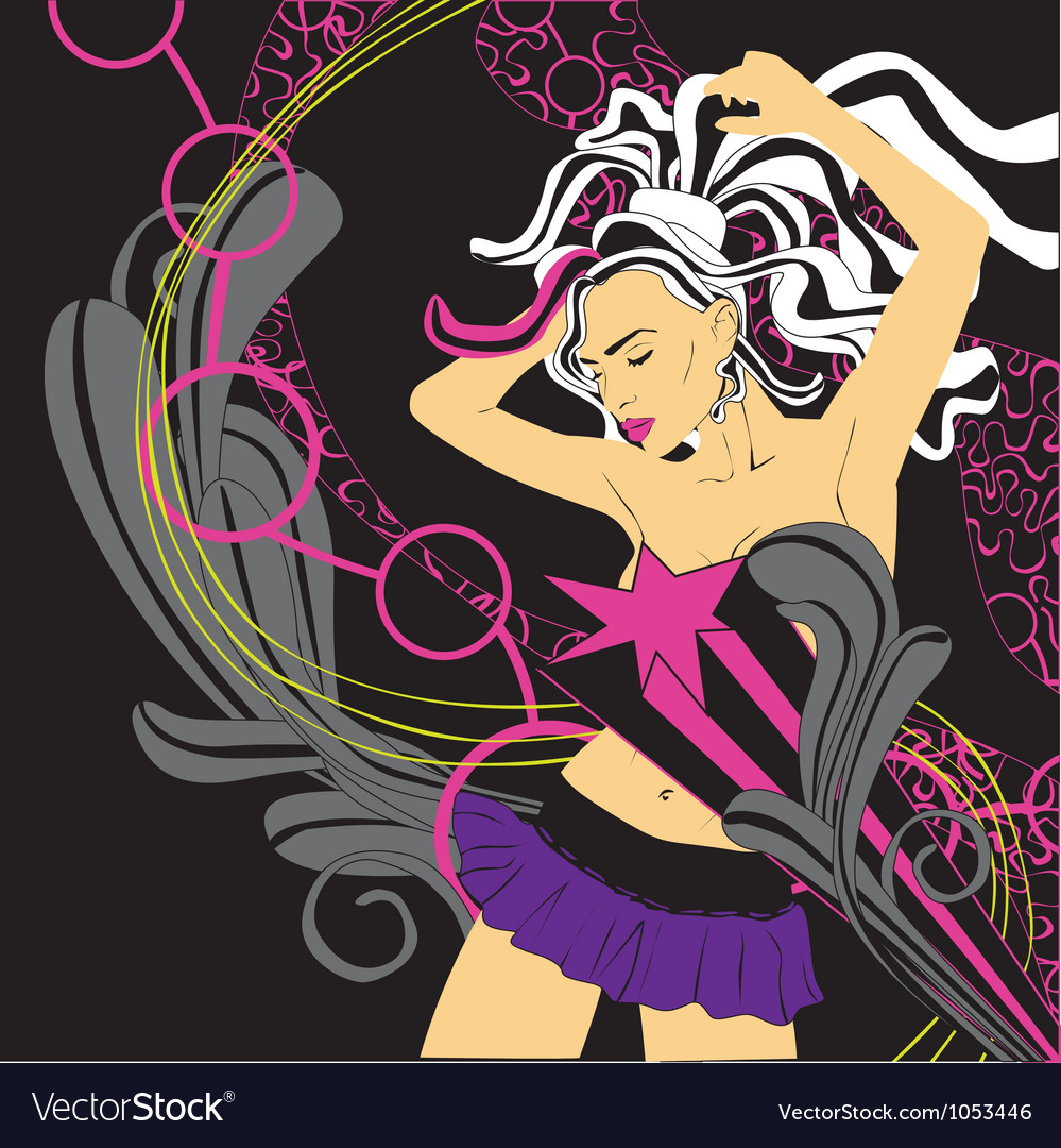 Background nightclub with a girl vector | Price: 1 Credit (USD $1)