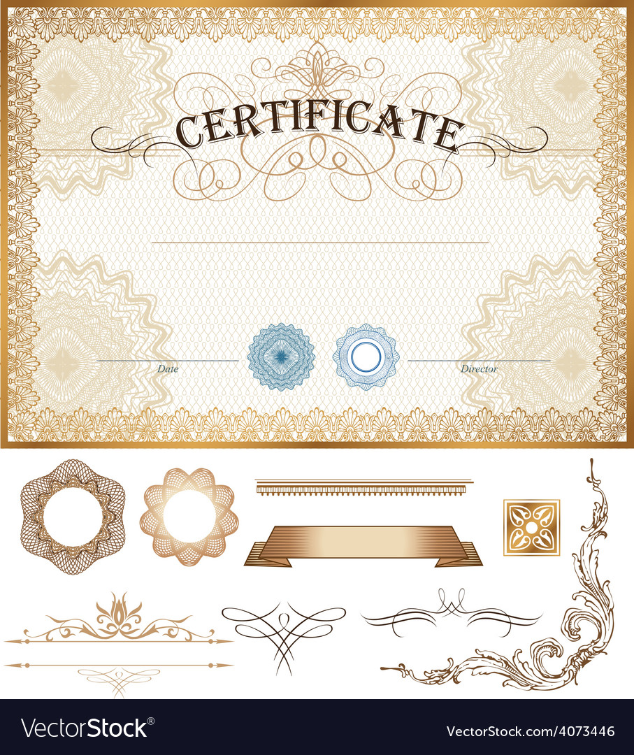 Certificate or coupon template with vintage border vector | Price: 3 Credit (USD $3)