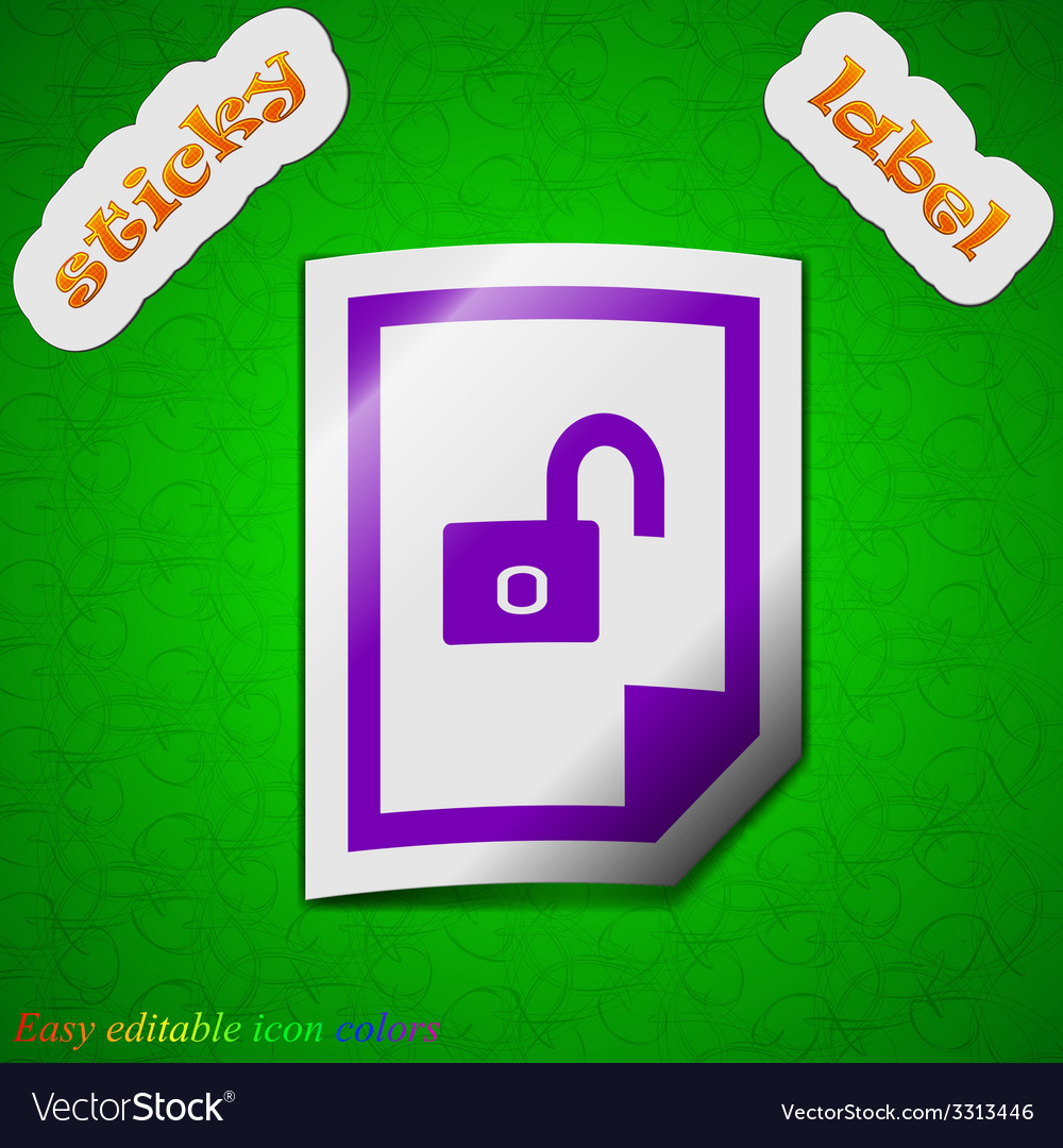 File unlocked icon sign symbol chic colored sticky vector | Price: 1 Credit (USD $1)