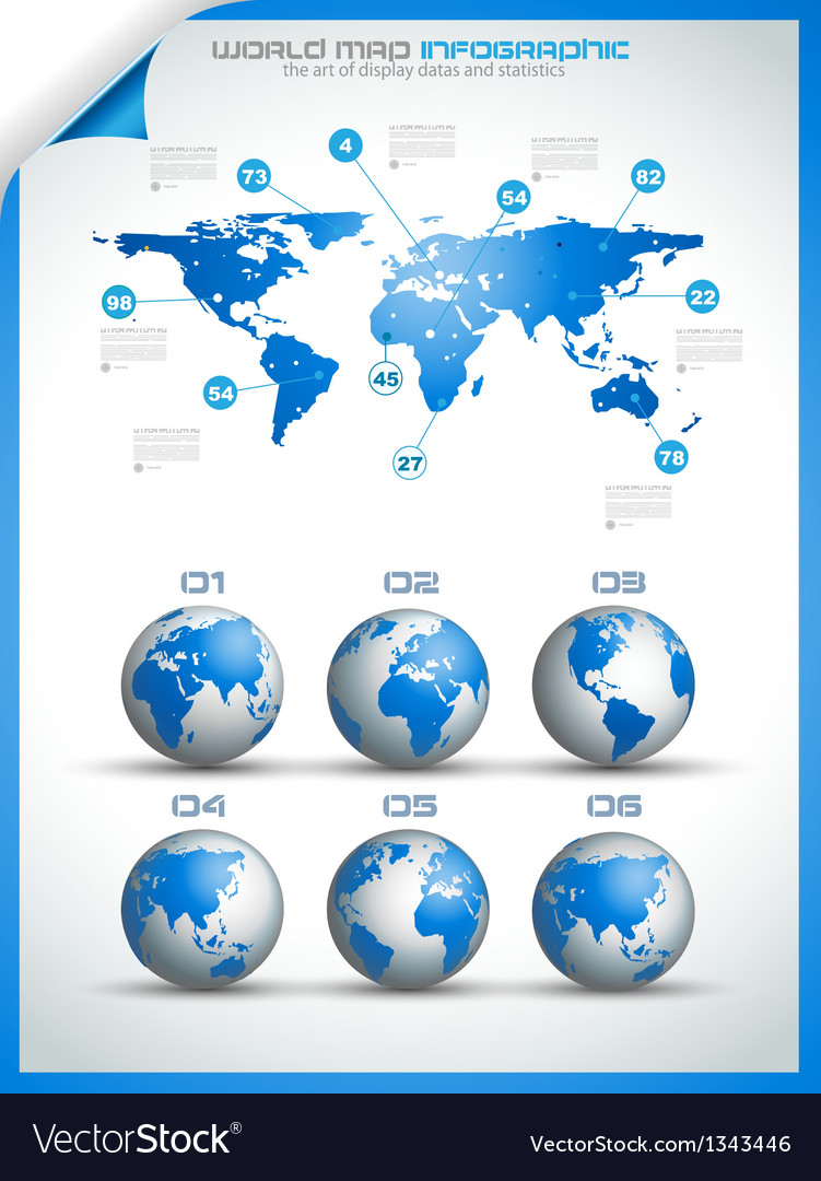Infographic layout template with world maps vector | Price: 1 Credit (USD $1)