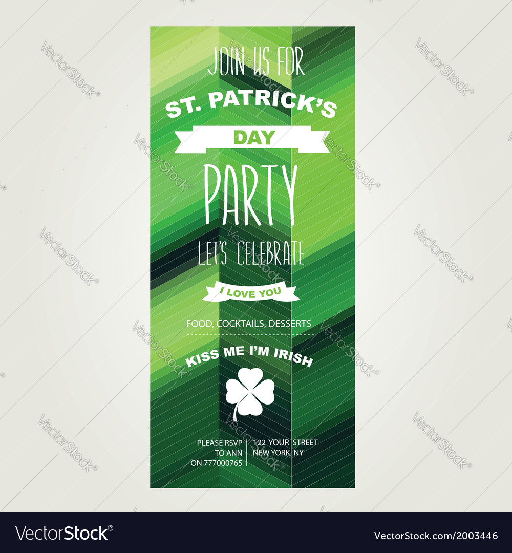 Invitation saint patricks dayholiday poster party vector | Price: 1 Credit (USD $1)