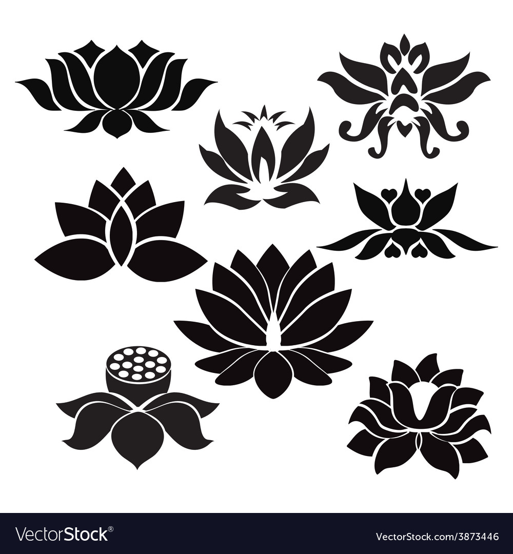 Lotus pattern flowers silhouettes vector | Price: 1 Credit (USD $1)