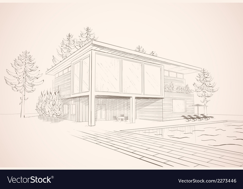 Sepia sketch of house with swimming pool vector | Price: 1 Credit (USD $1)