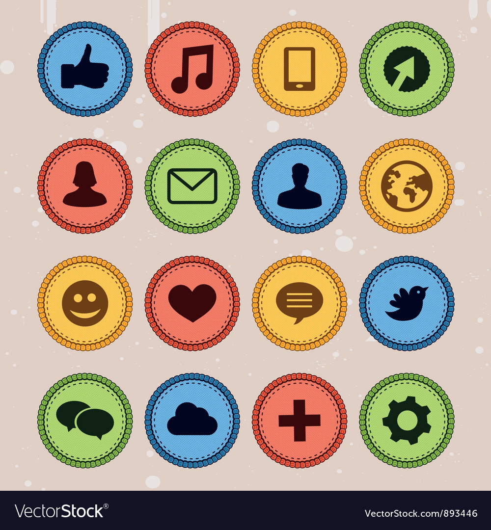 Set of social media badges vector | Price: 1 Credit (USD $1)